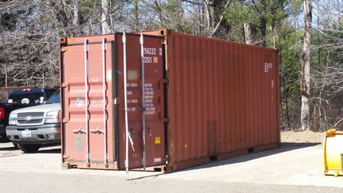 A 20ft storage container at an offsite location